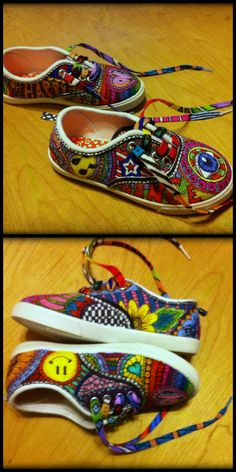 My grand daughters zentangle shoes i did from walmart  shoes