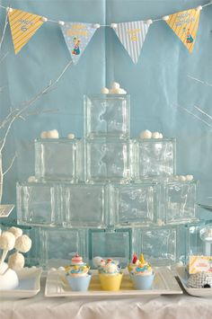 Winter Birthday Party ideas - glass blocks from Wilcon can be used as ice wall for a backdrop decor Winter Birthday Parties, Frozen Birthday Party, Frozen Party, Birthday Party Themes, 2nd Birthday, Birthday Ideas, Penguin Birthday, Penguin Party, Winter Wonderland Party