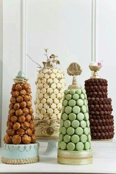 confection towers - macaron, truffle and croquembouche by cake opera co. Croquembouche, Beautiful Cakes, Amazing Cakes, Macaroon Cake, Macaron Tower, Bolo Cake, Cakepops, Celebration Cakes, Let Them Eat Cake