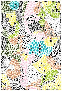 Mosaic style pattern with lots of little marks in pink, orange, yellow, green, blue and black. Love the detail and the scattered texture.