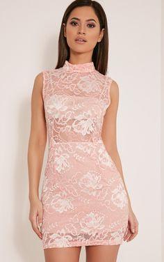 Saffie Pink High Neck Lace Bodycon Dress