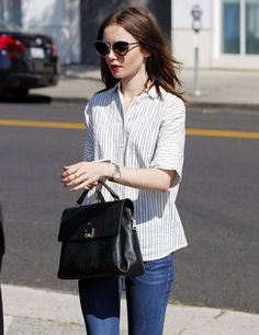 Lily Collins shopping in Beverly Hills on July 8, 2017.