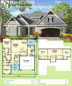 Architectural Designs House Plan 42379DB gives you 2 beds on the main floor and 2 more up (with an upstairs lounge area. Over 2,700 square feet of living area.  Ready when you are. Where do YOU want to build?