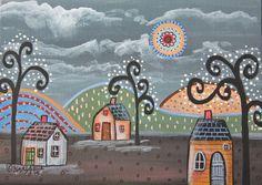 Night 5x7inch ORIGINAL Canvas Panel PAINTING Houses Trees FOLK ART Karla G #FolkArtAbstractPrimitiveLandscape