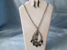 "Handmade Pendant w/ Chain Necklace  + Earrings - Black/Grey Color  - Length 27""  - Pendant 3 1/4""  small Lobster Clasps by LsFindsandCreations on Etsy"