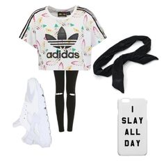 """Adidas"" by sydneykimora ❤ liked on Polyvore featuring adidas Originals, Topshop, NIKE and Candie's"