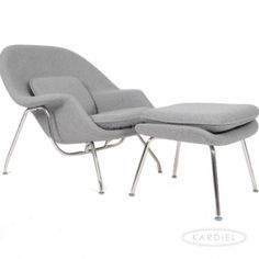Womb Chair & Ottoman, Cadet Grey Tweed Cashmere Wool |