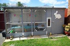 Happy Customers Rabbit Kennel And Rabbit Shed Amazing and all handmade by boyles pet housing Bunny Sheds, Rabbit Shed, Rabbit Run, Pet Rabbit, Rabbit Playground, Playground Design, Rabbit Cages Outdoor, Outdoor Rabbit Hutch, Rabbit Enclosure