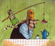 Findus no deja que Petterson se ponga triste - Sven Nordqvist Trolls, Nordic Art, Country Art, Children's Book Illustration, Whimsical Art, Cat Art, Graphic Art, Fantasy Art, Artsy