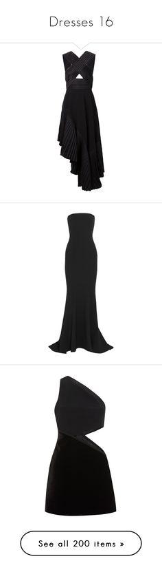 """Dresses 16"" by pieisyummy ❤ liked on Polyvore featuring dresses, black, pattern dress, asymmetrical hem cut-out dress, asymmetrical dress, asymmetrical hem dress, mid length dresses, gowns, long dresses and vestidos longos"