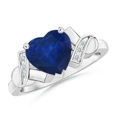 Angara Solitaire Heart Pink Sapphire Ribbon Shank Ring with Diamond UUBEc