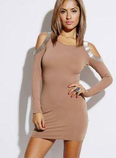 Mocha Bejeweled Cut Out Shoulder Mini Dress #bodycon #minidress #partydress #ustrendy