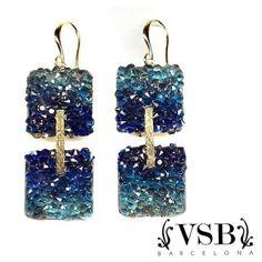 Pendientes de VSB. #vsbbarcelona #bañooro17k #swarovski #pendientes #azul