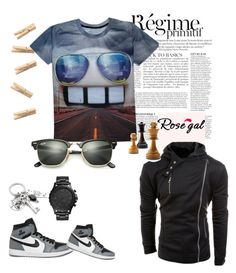 """""""Rosegal #64"""" by veca-01 ❤ liked on Polyvore featuring FOSSIL, NIKE, Ray-Ban, Anja, men's fashion and menswear"""