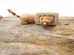 Miniature drawer with a cute fox wood carving wood box by plad, $54.00