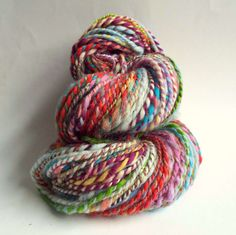 Love this riot of colour! Handspun yarn by The Fibre Tree on Etsy