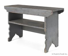 """Pennsylvania painted mortised bench, 19th c., retaining an old blue/grey surface, 24"""" h., 38"""" w."""