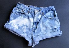 "vintage DIY Womens LEVIS 512 Blue BLEACHED Denim CUT OFFS Jean Shorts Distressed 27"" Wst"