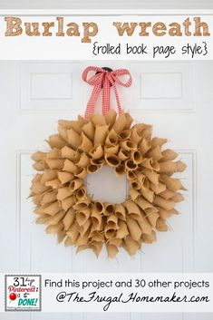 Burlap Book Page Wreath (day 23 of 31 days of Pinterest)