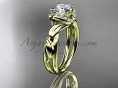 14kt yellow gold diamond leaf and vine wedding ring,engagement ring ADLR289 - AnjaysDesigns