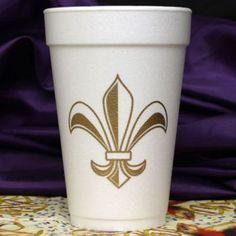 Festive gold Fleur de Lis foam cups from PaperStyle!