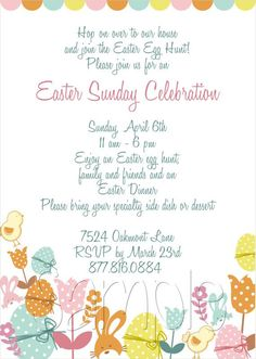 25 5x7 Easter Party or Birthday Invitations