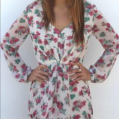 Nameless Floral Romper New without tags. Beautiful romper ❤️ Lined top and bottom. Sheer long sleeves. Pants Jumpsuits & Rompers