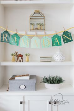"Create the ultimate Ramadan ""shelfie"" by adding a garland in your bookshelf or built in cabinets. Such an adorable Ramadan decor idea. Small Lanterns, Wooden Lanterns, Ramadan Decorations, Table Decorations, New Kitchen Doors, Baby Clothes Brands, Plush Carpet, Built In Cabinets, Handmade Home Decor"