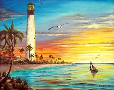 Lighthouse Sunrise Art Print Lighthouse Print featuring the painting Lighthouse Sunrise by Riley Geddings Seascape Paintings, Landscape Paintings, Oil Paintings, Watercolor Landscape, Watercolor Paintings, Sunrise Painting, Lighthouse Painting, Beach Art, Sunset Beach