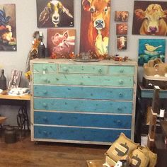 Beautiful dresser, with Driftwood, The Gulf, Pure Ocean and Peacock colors of Dixie Belle Mineral Paint