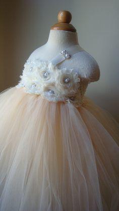Flower girl dress  tutu dress champagne, ivory chiffton roses, baby tutu dress, toddler tutu dress,newborn-24, 2t,2t,4t,5t, birthday. $89.00, via Etsy.