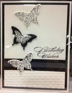 Black & white handmade card featuring the Papillon Potpourri and Bring On The Cake stamp sets from Stampin' Up!