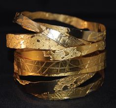 Lingua Nigra Hand Etched Gold Plated Brass and Copper Bangles Lingua Nigra ( might try etch silver and kum-boo over)