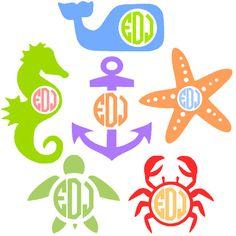 Nautical Monogrammed Vinyl Decal - Sea Horse Sea Whale Anchor Star Fish Crab Sea Turtle
