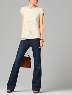 GUIPURE TOP with bootcut jeans #MassimoDutti