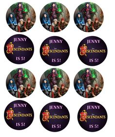 Disney Descendant cupcake toppers Stickers LABELS by KJROXTON