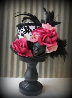 Skull Black and White Mini Top Hat, Day of the Dead Rose, Mad Hatter Hat, Alice in Wonderland, Tea Hat, Halloween Mini Top Hat on Etsy, $58.00