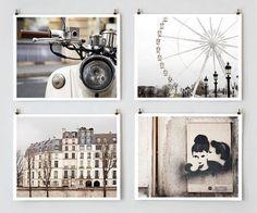 Paris Color Photography Set Neutral - Paris Décor, French Wall Art Set, White Wall Décor, Neutral Ecru