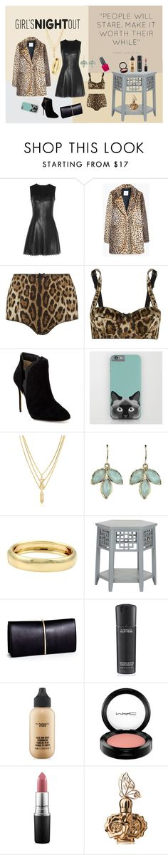"""""""Girl's Night Out - Leopard and Leather"""" by gina-hession on Polyvore featuring beauty, McQ by Alexander McQueen, MANGO, Dolce&Gabbana, Ted Baker, Kenzo, Cartier, Nina Ricci, MAC Cosmetics and Anna Sui"""