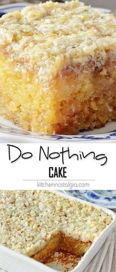 Bolo de abacaxi/Poke cake Do Nothing Cake, aka Texas Tornado Cake - super moist pineapple dump/poke cake with coconut walnut frosting; ridiculously easy to make and ideal for potlucks! Brownie Desserts, Easy Desserts, Health Desserts, Baking Desserts, Homemade Desserts, Dump Cake Recipes, Baking Recipes, Baking Pan, Sheet Cake Recipes