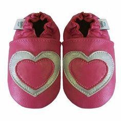 Dotty Fish - Dotty Fish Acogedoras Y Suaves Zapatos De Gamuza Para Bebé Con Suela De Gamuza Diseño De Corazón - Talla : 12-18 Meses - Color : Rosado Y Plata de Dotty Fish, http://www.amazon.es/dp/B00C2O7K46/ref=cm_sw_r_pi_dp_i4vhsb0MVN0YF