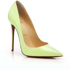 Christian Louboutin Point-Toe Pumps ($705) ❤ liked on Polyvore featuring shoes, pumps, apparel & accessories, shocking green, christian louboutin pumps, christian louboutin shoes, patent pointy toe pump, pointy-toe pumps and patent leather pointed toe pumps