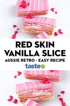 Retro Red Skins give a pretty-in-pink hue to classic vanilla slice. #redskins #vanillaslice #dessert #australian #australia #australianrecipes #classicrecipes #retrorecipes