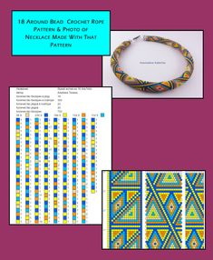 18 Around bead crochet rope pattern and a photo of a finished necklace worked using that pattern. I did not create the pattern or neckace but put the two together as I find this useful when choosing my next project. Loom Bracelet Patterns, Beaded Jewelry Patterns, Beading Patterns, Bead Crochet Patterns, Bead Crochet Rope, Bead Jewellery, Beading Projects, Peyote Stitch, Collar Necklace
