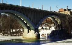 "The ""Million Dollar Bridge"" aka Robert H. Mollohan/Jefferson Street Bridge. This super cool perspective is from Palatine Park! #pretty #landscape #frozen"