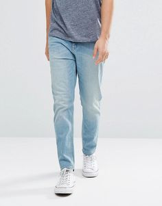 ASOS Tapered Jeans In Light Wash Blue - Blue