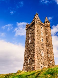 Ireland.  Scrabo Tower  Scrabo Tower is a well known landmark, standing over the town of Newtownards in Northern Ireland, close to Strangford Lough.    It was built in 1857, and spectacular views, reaching as far as Scotland are available from the top of the tower.