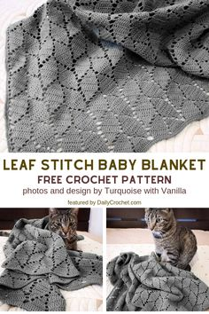 Leaf Stitch Baby Blanket Free Crochet Pattern For Beginners - Knit And Crochet D. Leaf Stitch Baby Blanket Free Crochet Pattern For Beginners – Knit And Crochet Daily pat Easy Knitting, Knitting For Beginners, Free Crochet Patterns For Beginners, Crochet For Beginners Blanket, Crotchet For Beginners, Knitting And Crocheting, Beginner Crochet, Knitting Ideas, Stitch Crochet