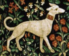 Scarlet Quince cross stitch chart: Cluny Tapestry Dog II