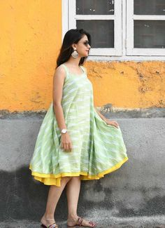 Shop Pastel Green Flared Ikat Dress by Threeness Stylish Dress Designs, Stylish Dresses, Casual Dresses, Short Dresses, Beach Dresses, Frock Models, Frock Patterns, Kurti Patterns, Short Frocks